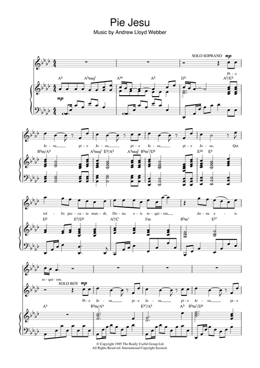 Andrew Lloyd Webber Pie Jesu (from Requiem) sheet music notes and chords