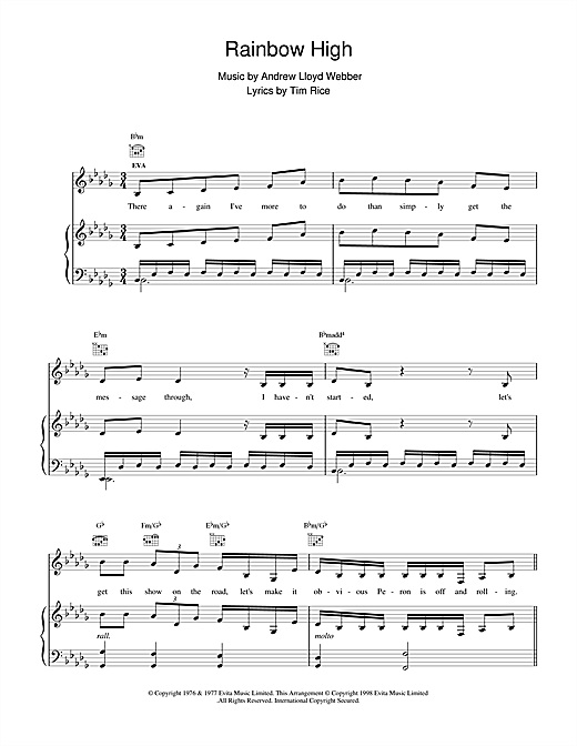 Andrew Lloyd Webber Rainbow High (from Evita) sheet music notes and chords. Download Printable PDF.