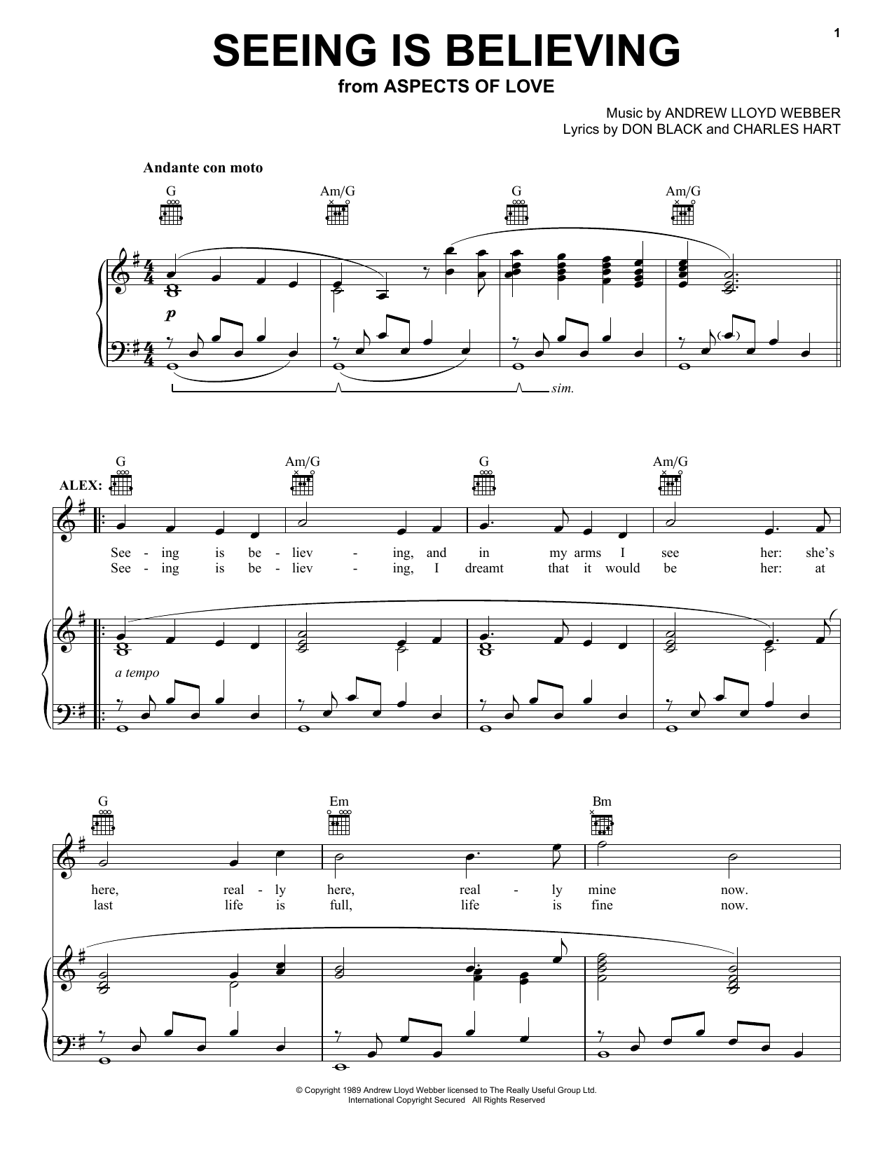 Andrew Lloyd Webber Seeing Is Believing (from Aspects of Love) sheet music notes and chords. Download Printable PDF.