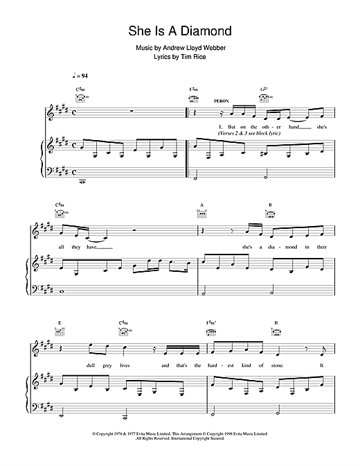Andrew Lloyd Webber She Is A Diamond (from Evita) sheet music notes and chords
