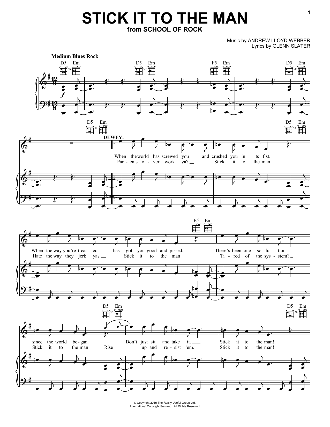 Andrew Lloyd Webber Stick It To The Man (from School of Rock: The Musical) sheet music notes and chords. Download Printable PDF.