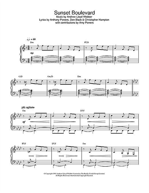 Andrew Lloyd Webber Sunset Boulevard (from Sunset Boulevard) sheet music notes and chords