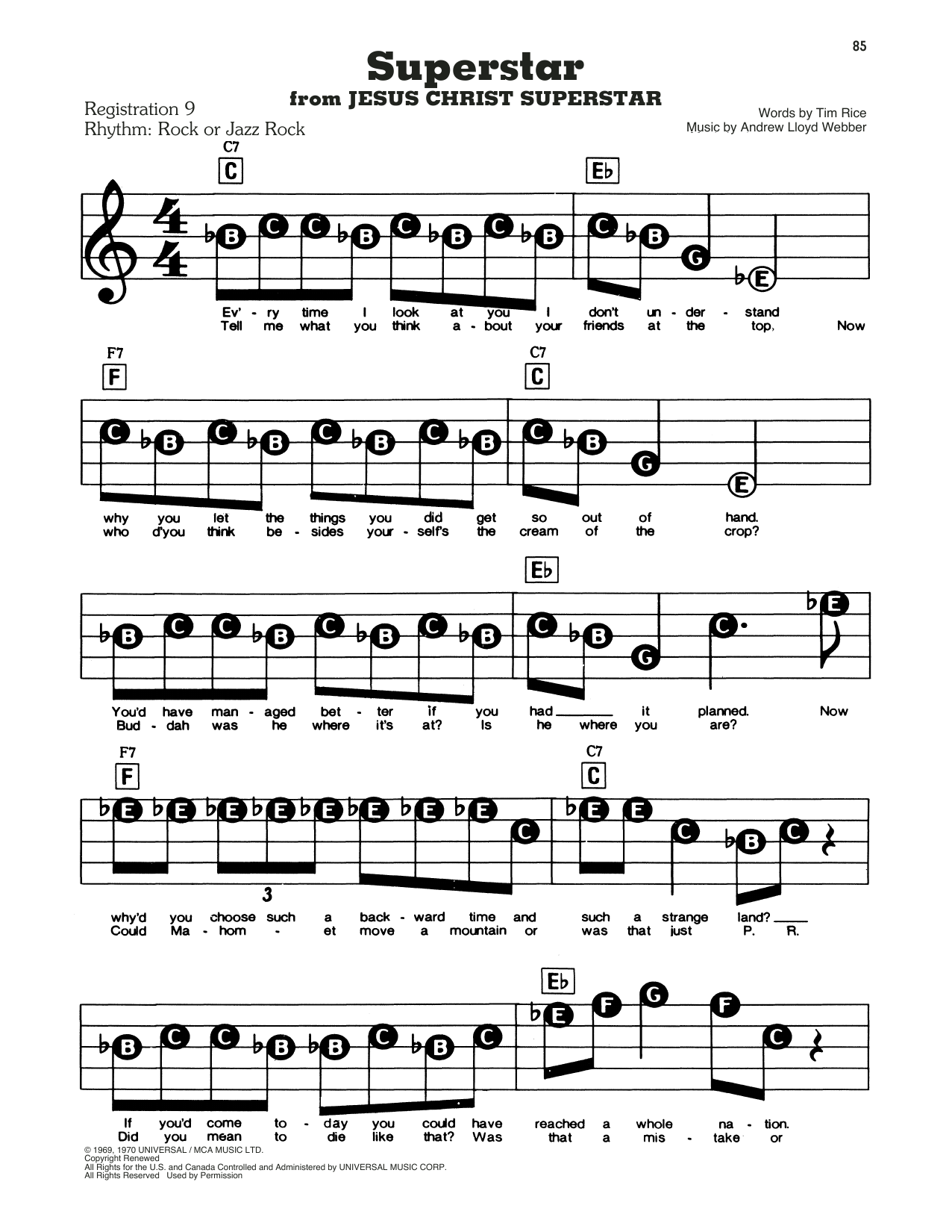 Andrew Lloyd Webber Superstar sheet music notes and chords. Download Printable PDF.