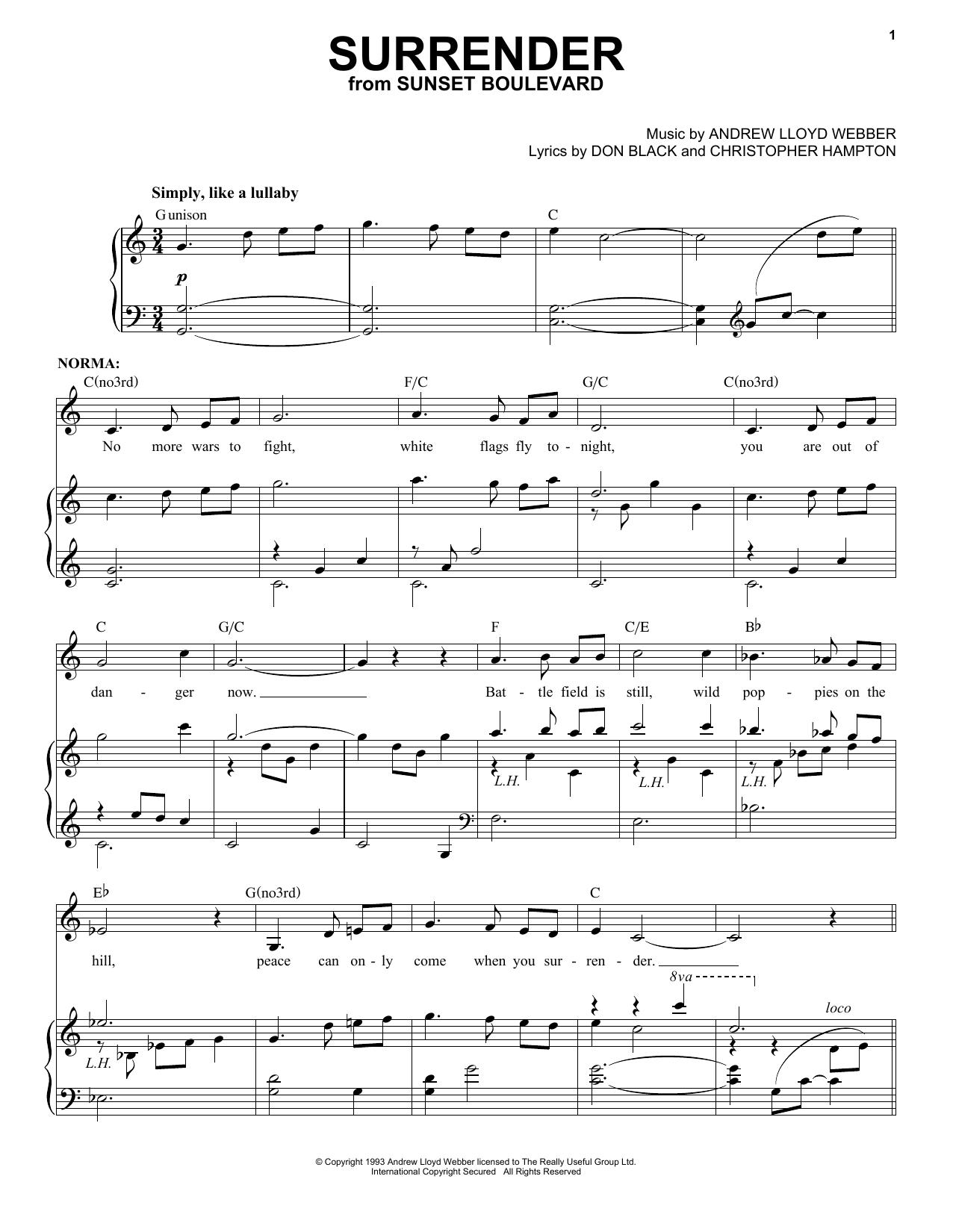 Andrew Lloyd Webber Surrender sheet music notes and chords. Download Printable PDF.