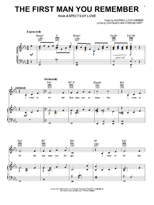 Andrew Lloyd Webber The First Man You Remember (from Aspects Of Love) sheet music notes and chords. Download Printable PDF.