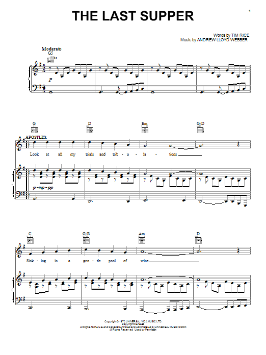 Andrew Lloyd Webber The Last Supper sheet music notes and chords. Download Printable PDF.