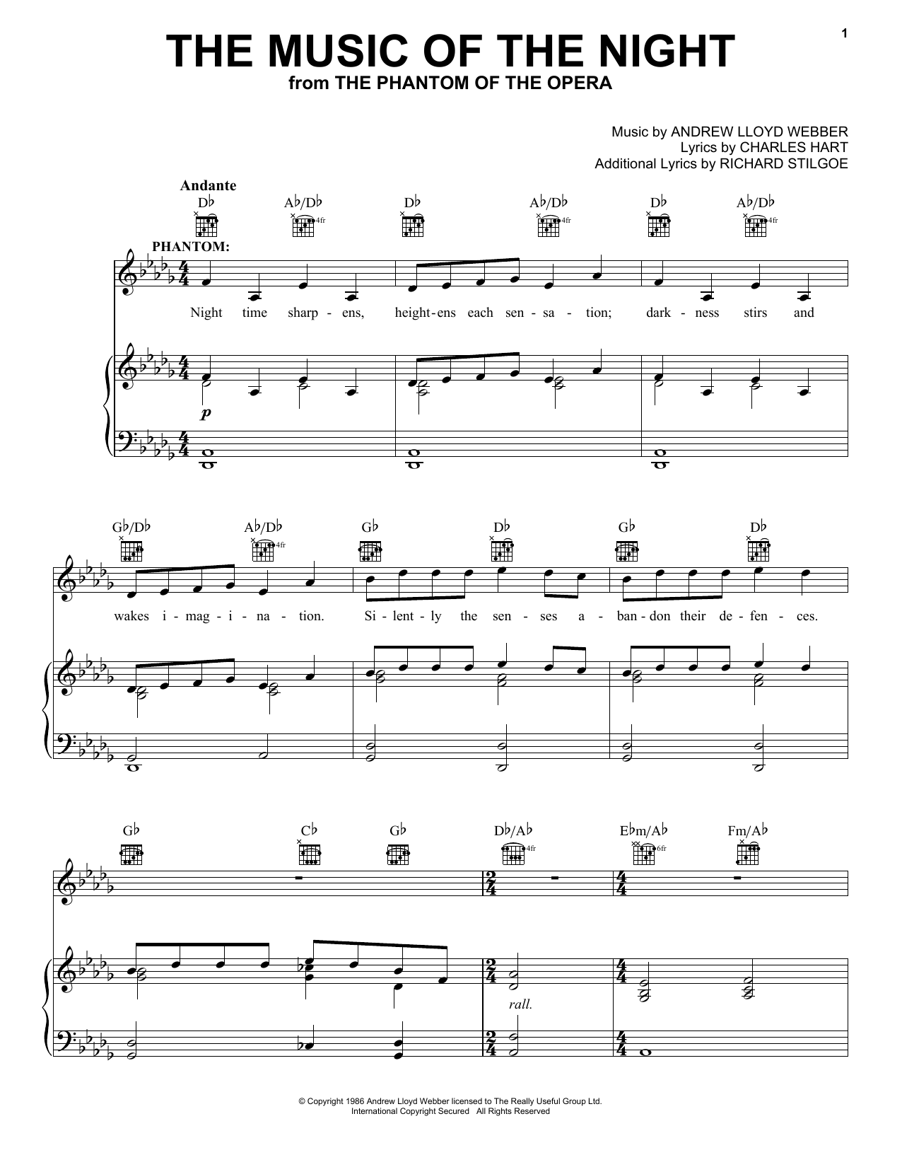 Andrew Lloyd Webber The Music Of The Night sheet music notes and chords. Download Printable PDF.