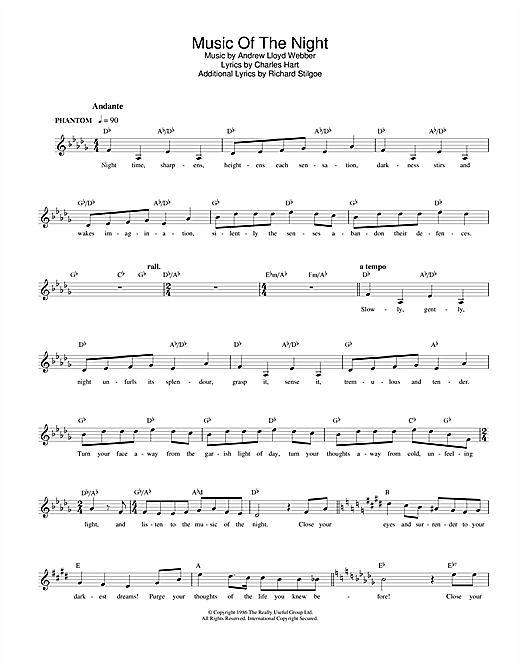 Andrew Lloyd Webber The Music of the Night (from The Phantom of the Opera) sheet music notes and chords. Download Printable PDF.