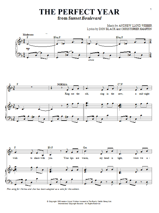 Andrew Lloyd Webber The Perfect Year (from Sunset Boulevard) sheet music notes and chords. Download Printable PDF.