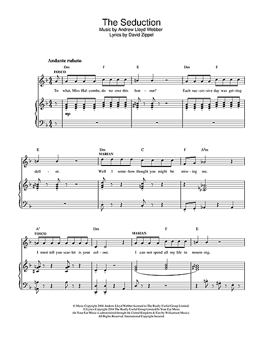 Andrew Lloyd Webber The Seduction (from The Woman In White) sheet music notes and chords. Download Printable PDF.