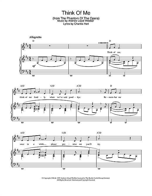 Andrew Lloyd Webber Think Of Me sheet music notes and chords