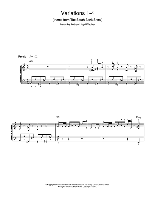 Andrew Lloyd Webber Variations 1-4 (theme from The South Bank Show) sheet music notes and chords. Download Printable PDF.