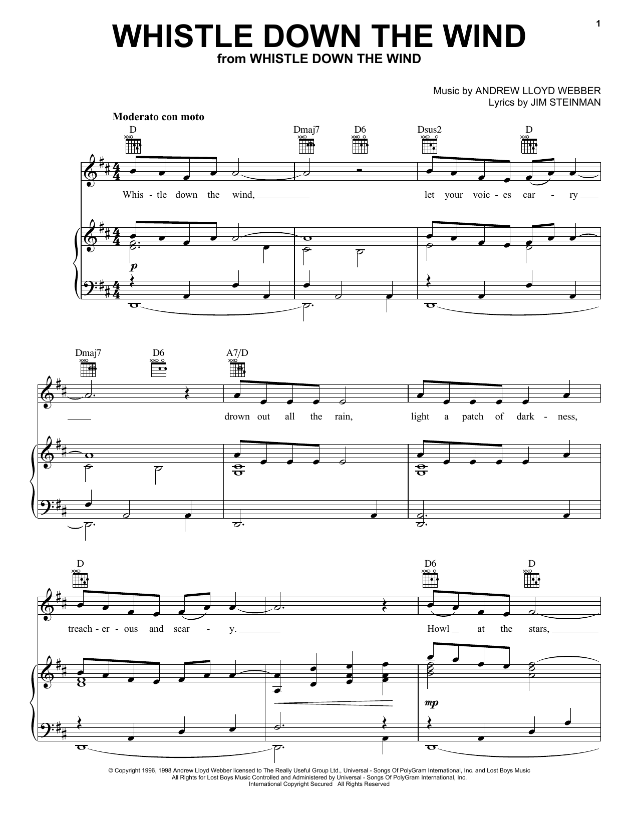 Andrew Lloyd Webber Whistle Down The Wind sheet music notes and chords. Download Printable PDF.