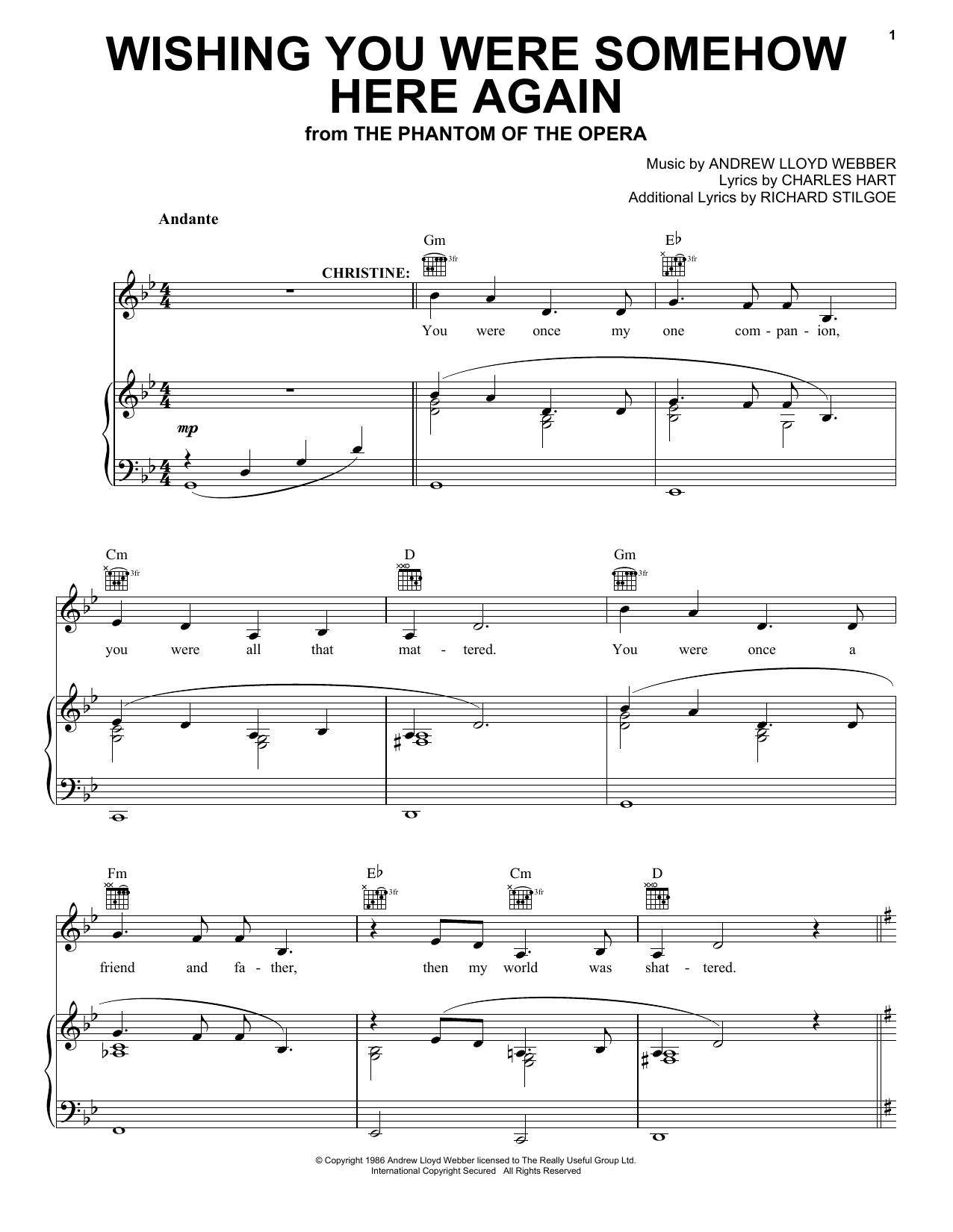 Andrew Lloyd Webber Wishing You Were Somehow Here Again (from The Phantom Of The Opera) sheet music notes and chords. Download Printable PDF.