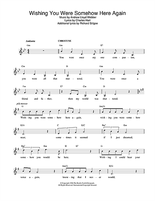 Andrew Lloyd Webber Wishing You Were Somehow Here Again (from The Phantom Of The Opera) sheet music notes and chords