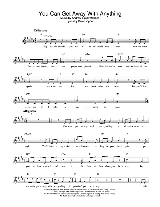 Andrew Lloyd Webber You Can Get Away With Anything (from The Woman In White) sheet music notes and chords. Download Printable PDF.