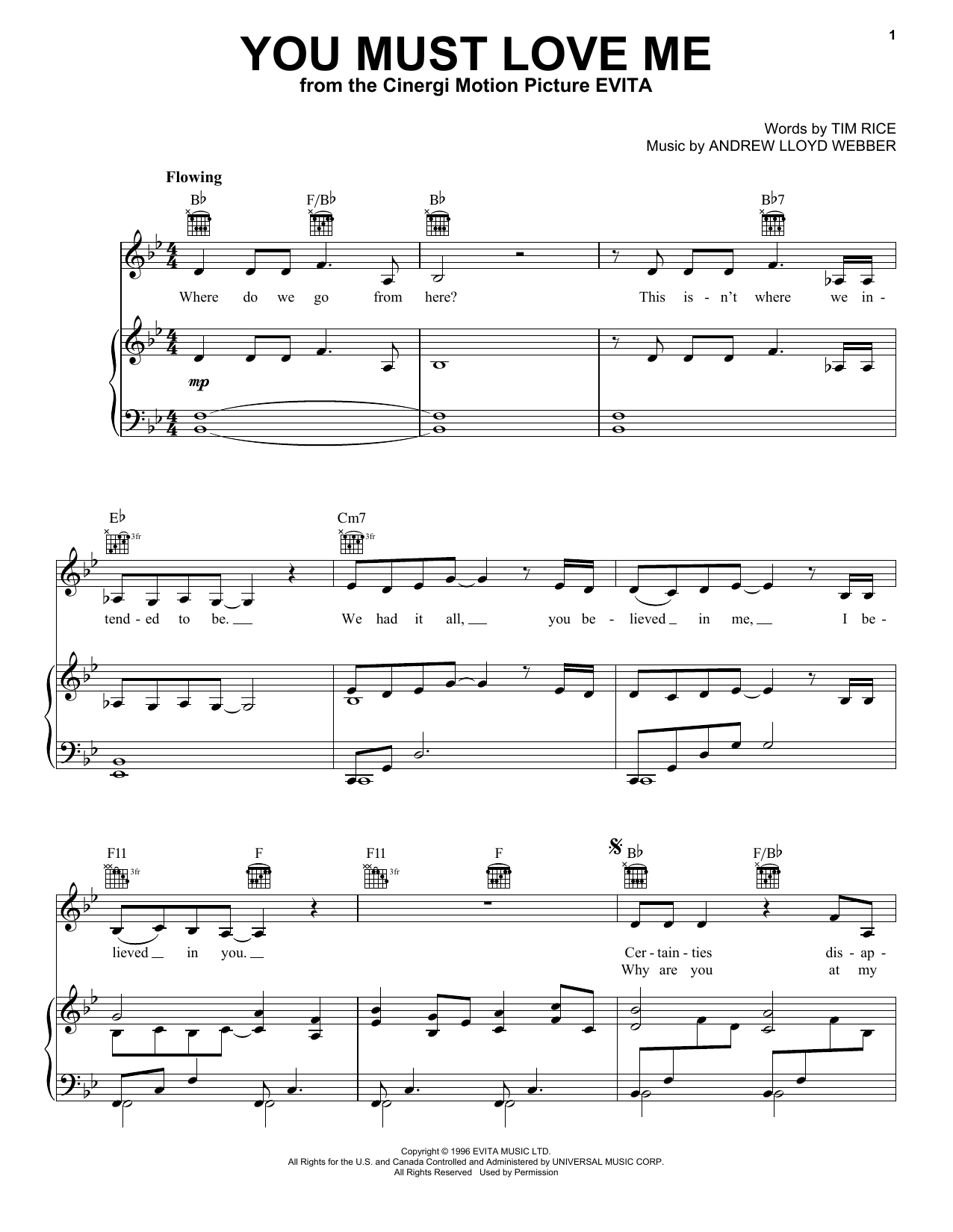 Madonna You Must Love Me (from Evita) sheet music notes and chords. Download Printable PDF.