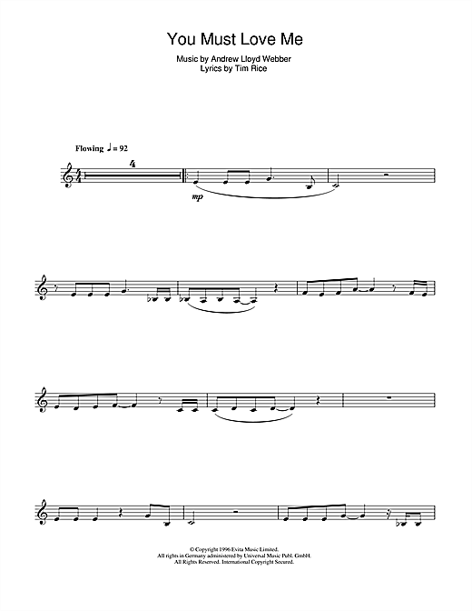 Andrew Lloyd Webber You Must Love Me sheet music notes and chords. Download Printable PDF.