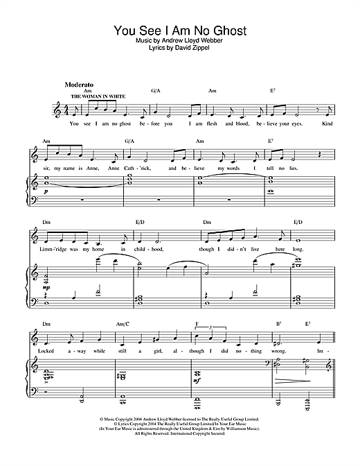 Andrew Lloyd Webber You See I Am No Ghost (from The Woman In White) sheet music notes and chords. Download Printable PDF.