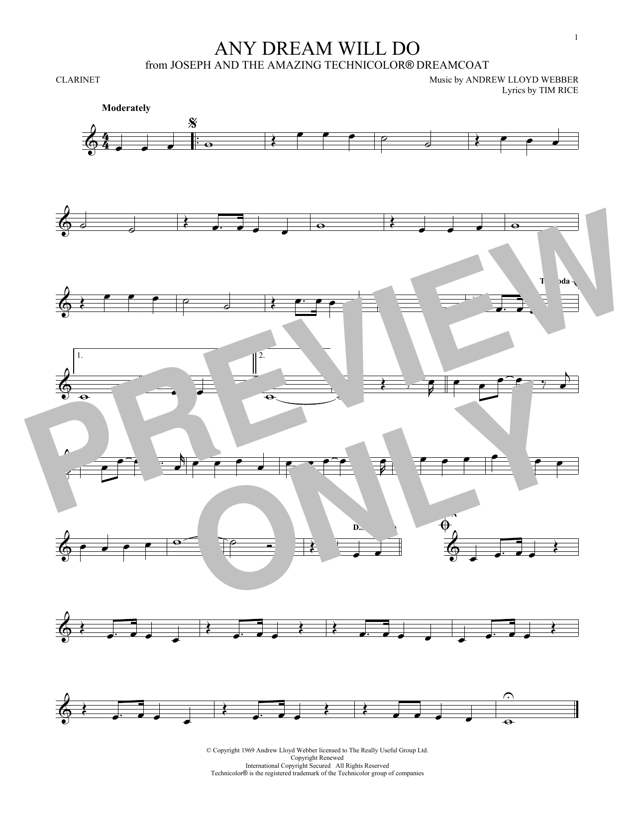 Andrew Lloyd Webber & Tim Rice Any Dream Will Do sheet music notes and chords
