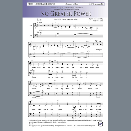 Easily Download Andrew Miller Printable PDF piano music notes, guitar tabs for SATB Choir. Transpose or transcribe this score in no time - Learn how to play song progression.