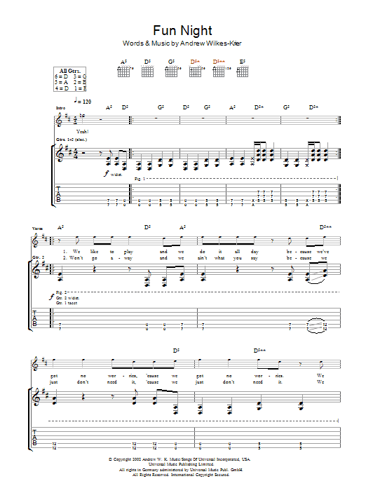 Andrew WK Fun Night sheet music notes and chords. Download Printable PDF.