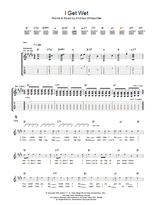 Andrew WK I Get Wet sheet music notes and chords. Download Printable PDF.