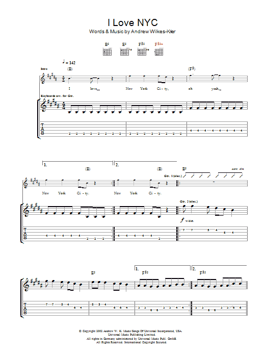 Andrew WK I Love NYC sheet music notes and chords. Download Printable PDF.