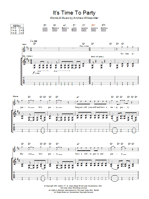 Andrew WK It's Time To Party sheet music notes and chords. Download Printable PDF.