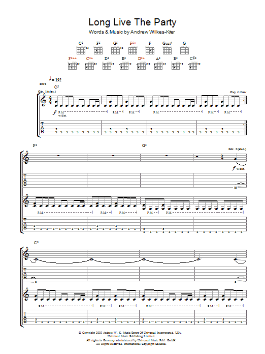 Andrew WK Long Live The Party sheet music notes and chords. Download Printable PDF.
