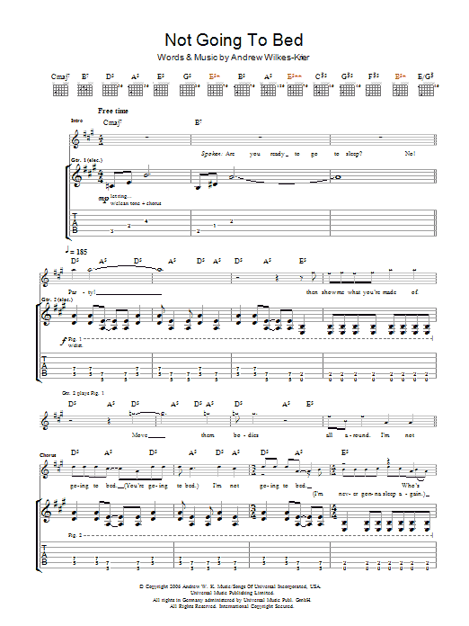 Andrew WK Not Going To Bed sheet music notes and chords. Download Printable PDF.