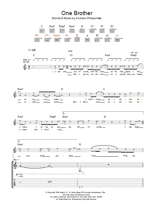 Andrew WK One Brother sheet music notes and chords. Download Printable PDF.