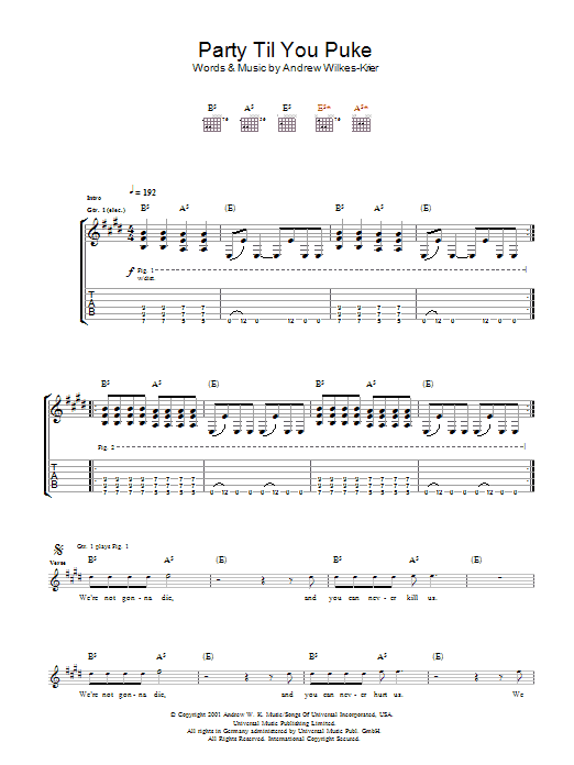 Andrew WK Party Til You Puke sheet music notes and chords. Download Printable PDF.