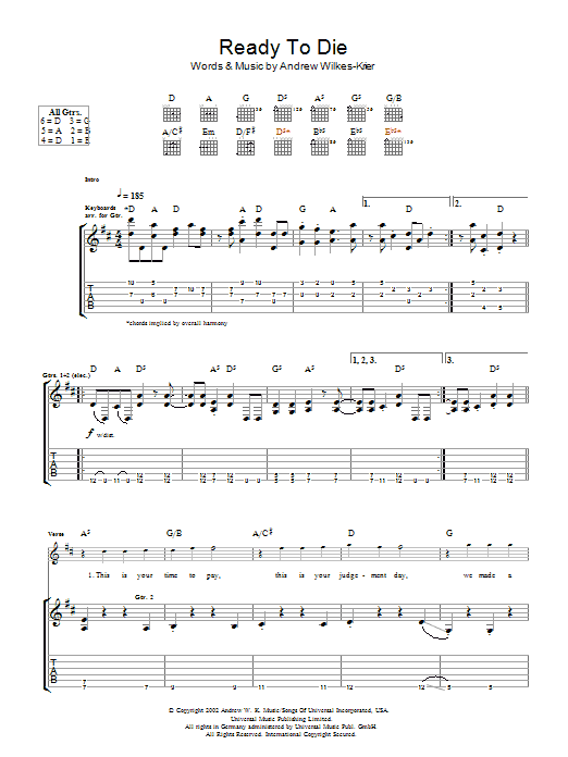 Andrew WK Ready To Die sheet music notes and chords. Download Printable PDF.