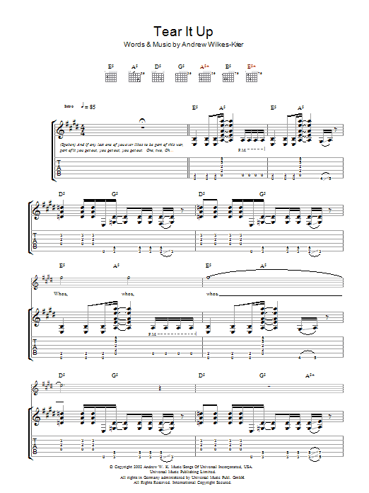 Andrew WK Tear It Up sheet music notes and chords. Download Printable PDF.
