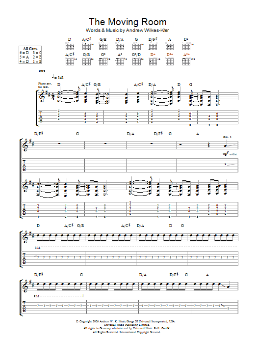 Andrew WK The Moving Room sheet music notes and chords. Download Printable PDF.
