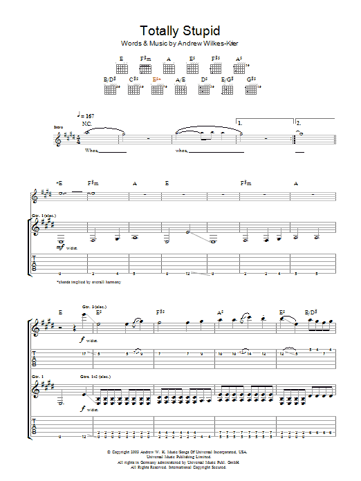 Andrew WK Totally Stupid sheet music notes and chords. Download Printable PDF.