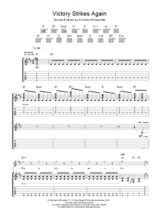 Andrew WK Victory Strikes Again sheet music notes and chords. Download Printable PDF.