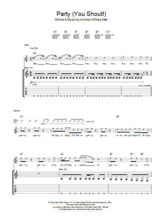 Andrew WK We Party (You Shout) sheet music notes and chords. Download Printable PDF.