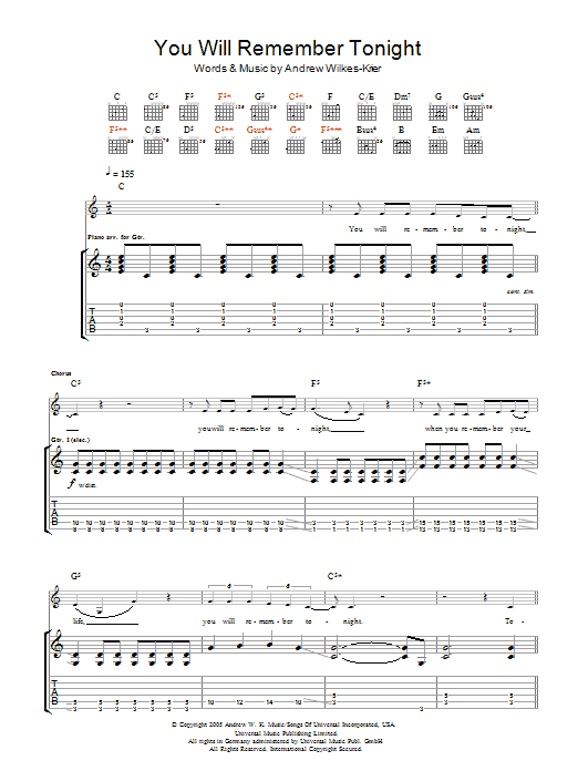 Andrew WK You Will Remember Tonight sheet music notes and chords. Download Printable PDF.