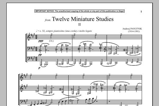 Andrzej Panufnik Twelve Miniature Studies, II. sheet music notes and chords. Download Printable PDF.