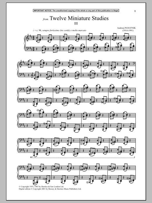 Andrzej Panufnik Twelve Miniature Studies, III. sheet music notes and chords. Download Printable PDF.
