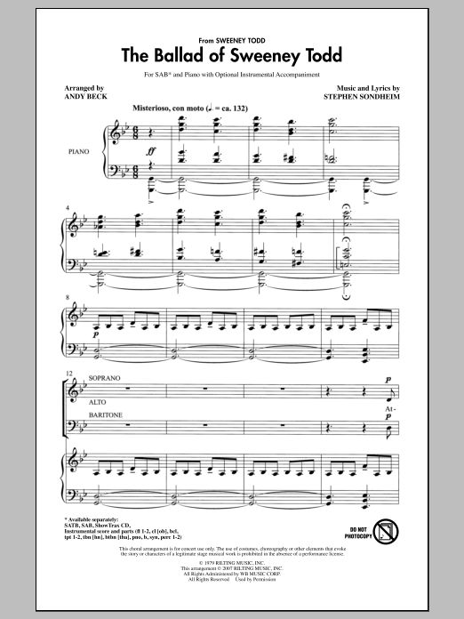 Andy Beck The Ballad Of Sweeney Todd Sheet Music Pdf Notes Chords Concert Score Satb Choir Download Printable Sku 98118