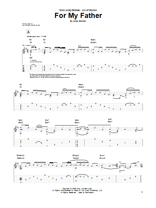 Andy McKee For My Father sheet music notes and chords. Download Printable PDF.