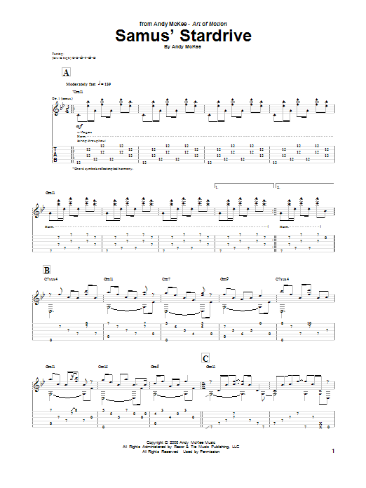Andy McKee Samus' Stardrive sheet music notes and chords. Download Printable PDF.