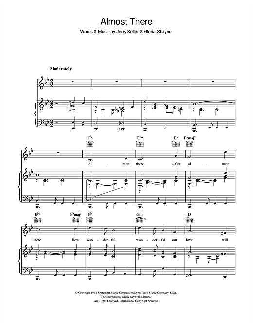 Andy Williams Almost There sheet music notes and chords. Download Printable PDF.