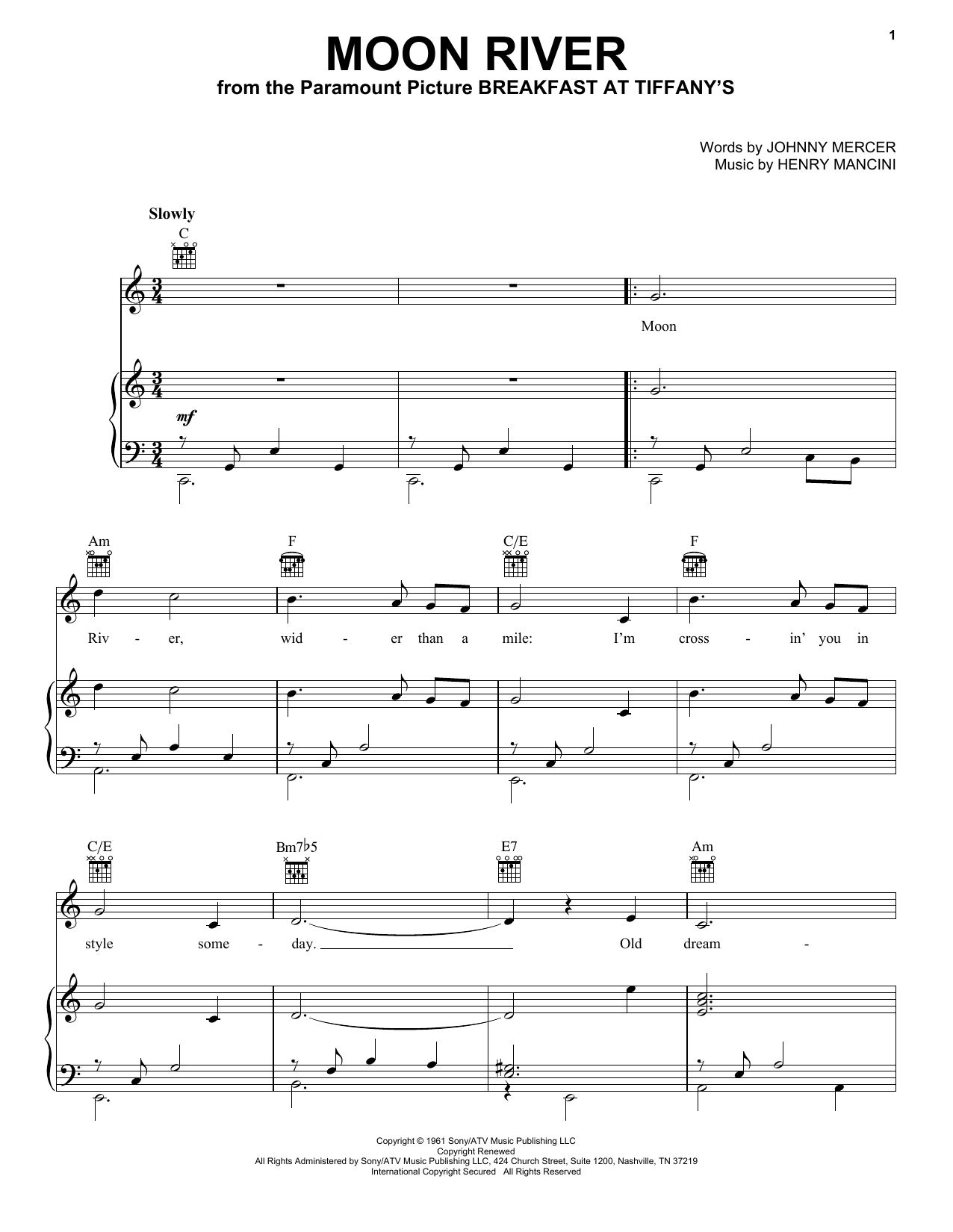Andy Williams Moon River (from Breakfast At Tiffany's) sheet music notes and chords. Download Printable PDF.
