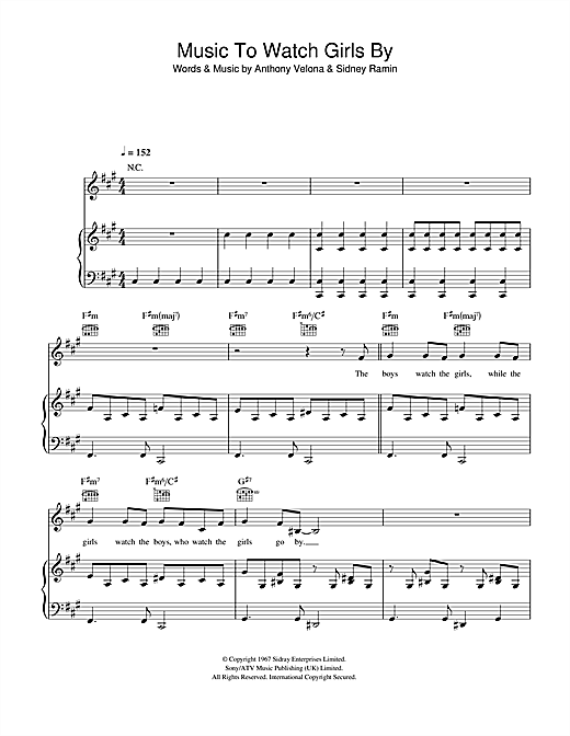 Andy Williams Music To Watch Girls By sheet music notes and chords. Download Printable PDF.