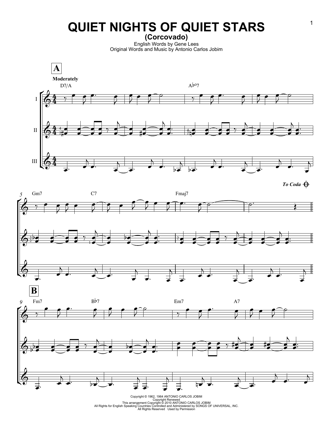 Andy Williams Quiet Nights Of Quiet Stars (Corcovado) sheet music notes and chords. Download Printable PDF.