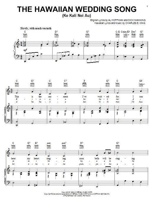 Andy Williams The Hawaiian Wedding Song (Ke Kali Nei Au) sheet music notes and chords. Download Printable PDF.